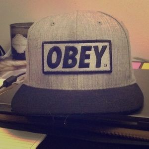 OBEY grey snapback hat